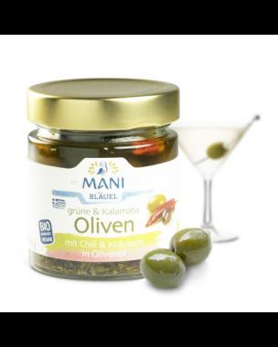 MANI Olijven met chili en kruiden in olijfolie 185g, bio