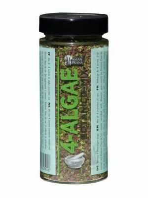 4-Algae, this 4 seaweeds mix (nori, dulse, sea lettuce and kombu) is delicious on dressings and many other dishes