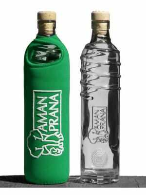 Amanprana Drinking Bottle Eco Respekt, glass, 500ml, green