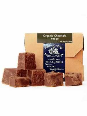 Chocolate-flavoured fudge , with a rich sweet flavour and crumbly texture - Devon Cottage Organic Fudge