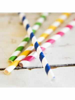 Pailles en papier flexibles et rayées