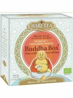 La Buddha Box, un coffret d'assortiment contenant 11 variétés différentes d'infusions Hari Tea