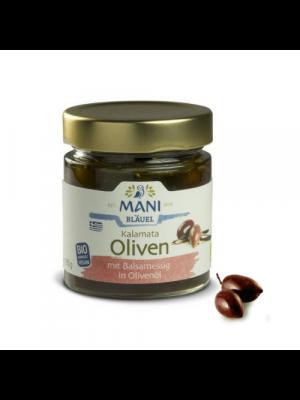 MANI Groene en Kalamata olijven met chili en Provençaalse kruiden in olijfolie, 185g, bio