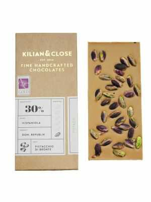 Vegan white chocolate with roasted Italian pistachios - Kilian & Close