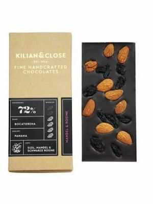 Pure vegan chocolate - 72 percent cocoa - with almonds and raisins - Kilian & Close