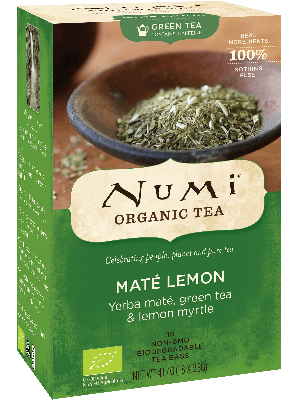 Numi Mate Lemon is an organic green tea with yerba mate and lemon myrtle