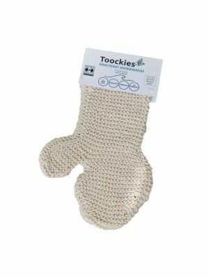 Scrub handschoen Toockies - bio katoen, handgemaakt, Fair Trade