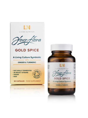 Living Nutrition Your Flora Gold Spice au gingembre/ curcuma 60 caps, bio