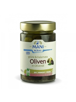 MANI Kalamata & Green Olives in Olive Oil 280g, organic