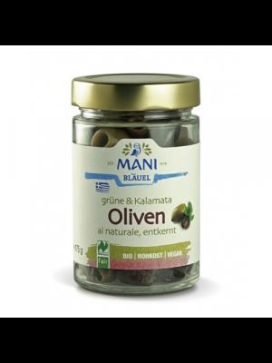 Grüne & Kalamata Oliven al naturale 175g, bio