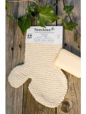 Soft exfoliating glove by Toockies - handmade of organic cotton, Fair Trade