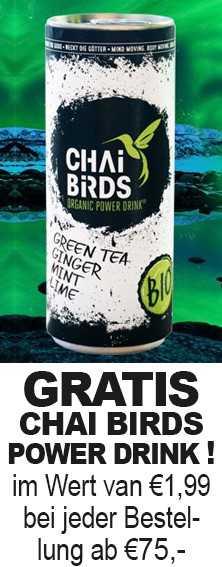 Gratis Chai Brids Power Drink i.W.v. 1,99 € bei jeder Bestellung ab 75 €