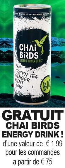 Gratuit Chai Birds Energy Drink d'une valeur de 1,99€ pour les  commandes a partir de 75€