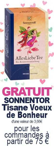 GRATUIT Sonnentor Tisane Voeux de Bonheur d'une valeur de 3,66€ pour commande à partir de 75€