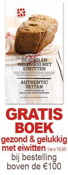 Gratis boek gezond en gelukkig met eiwitten t.w.v 19,95 bij een bestelling vanaf €100,-