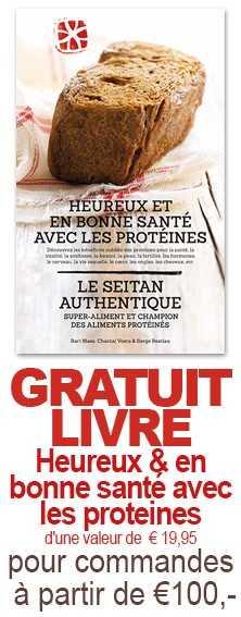 Gratuit Livre Heureux & en bonne sante avec les proteines d'une valeur de 19,95 euro pour commandes a partir de 100€