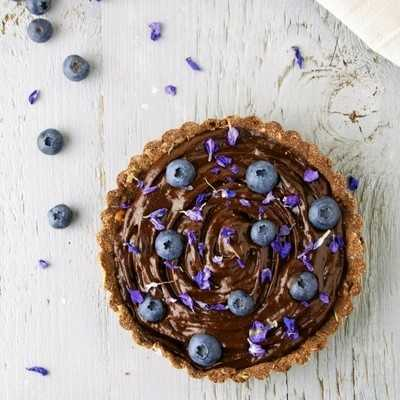 Delicious chocolate lavender tart