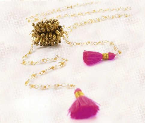Karawan - Indira, brass, pearls and cotton thread jewels
