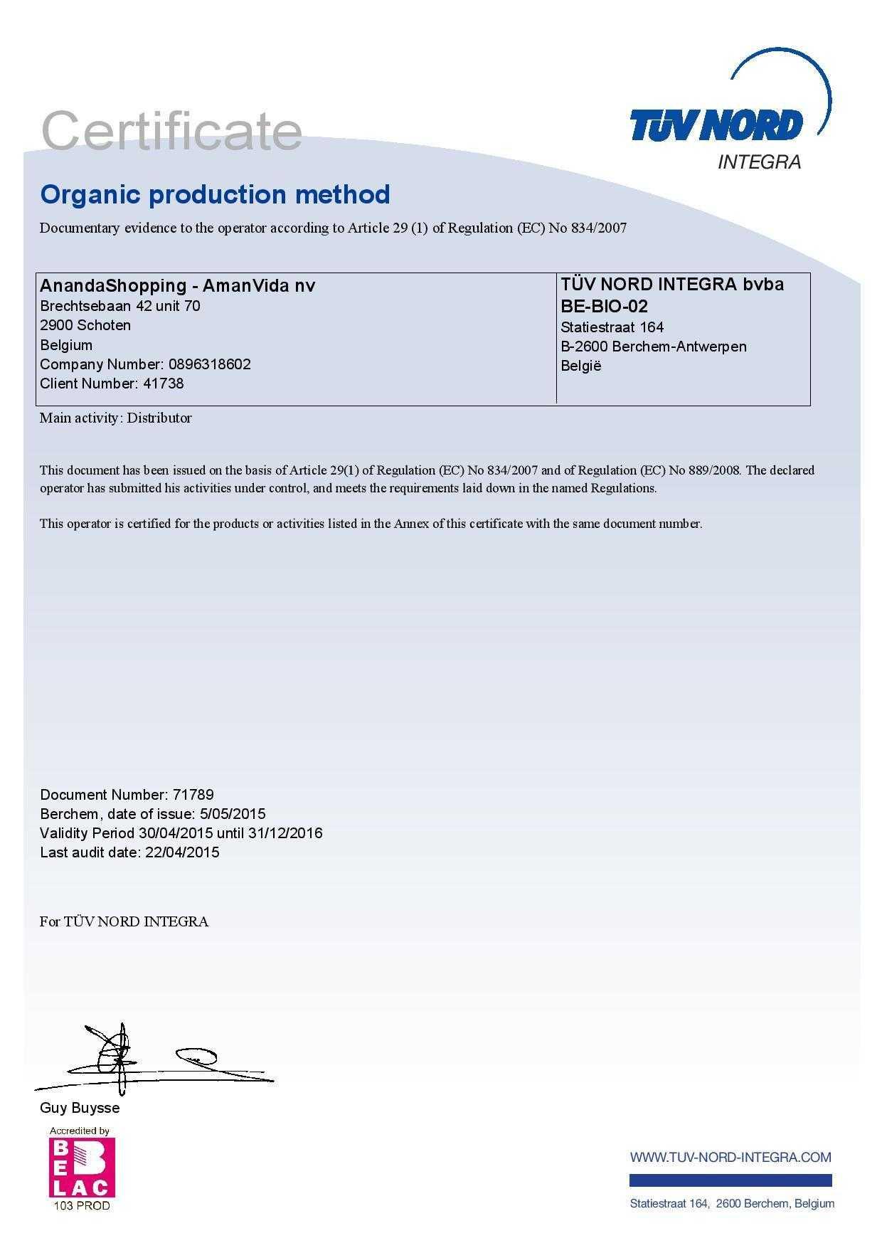 Certificate organic products Amanvida 1
