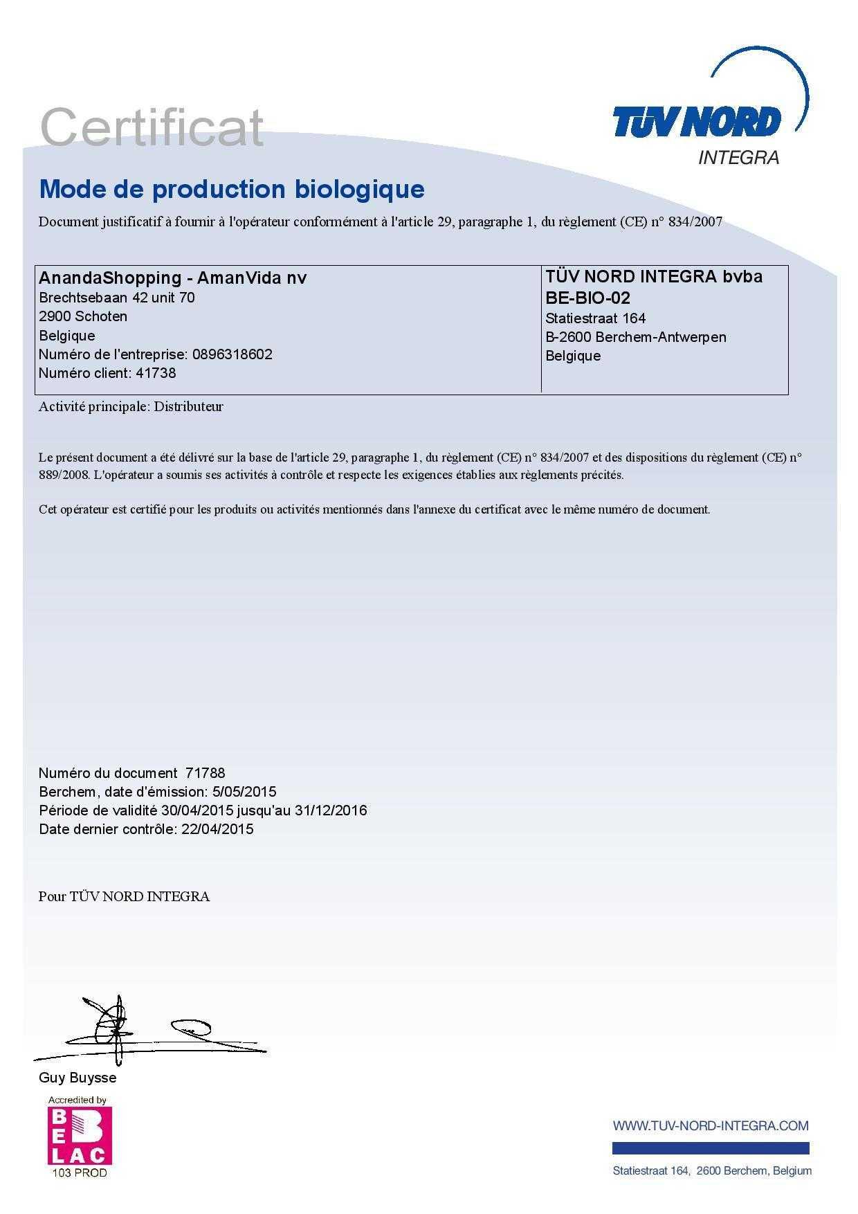 Certificat bio Amanvida 1