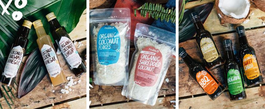 Niulife geraspte kokos, kokos azijn, coconut aminos sauzen,