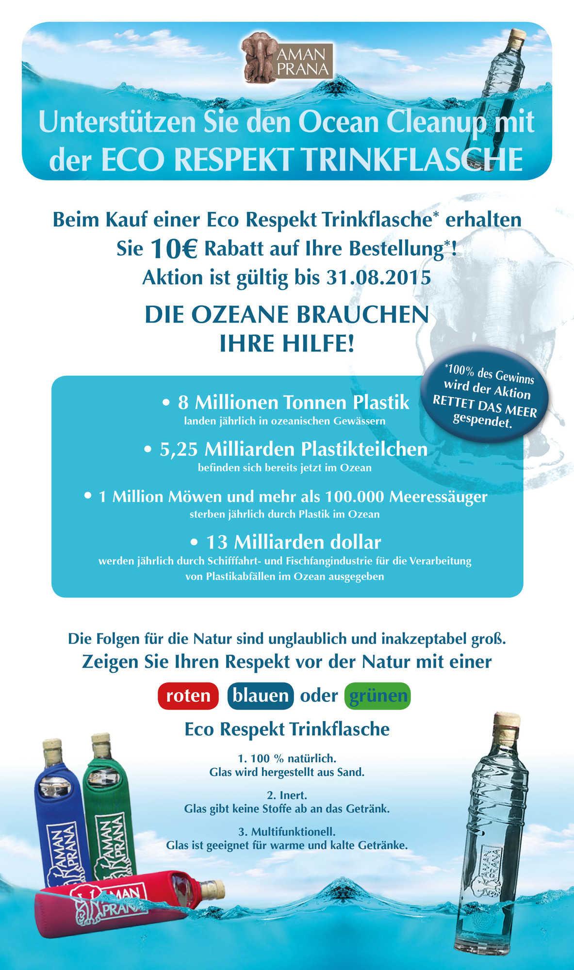 Amanprana unterstützt den Ocean Cleanup mit der Eco Respekt Trinkflasche