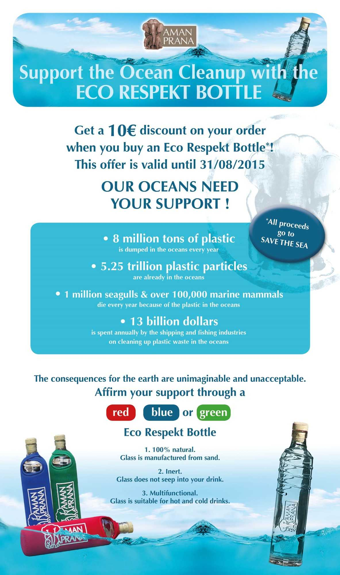 Amanprana supports the Ocean Cleanup with its Eco Respekt Bottle