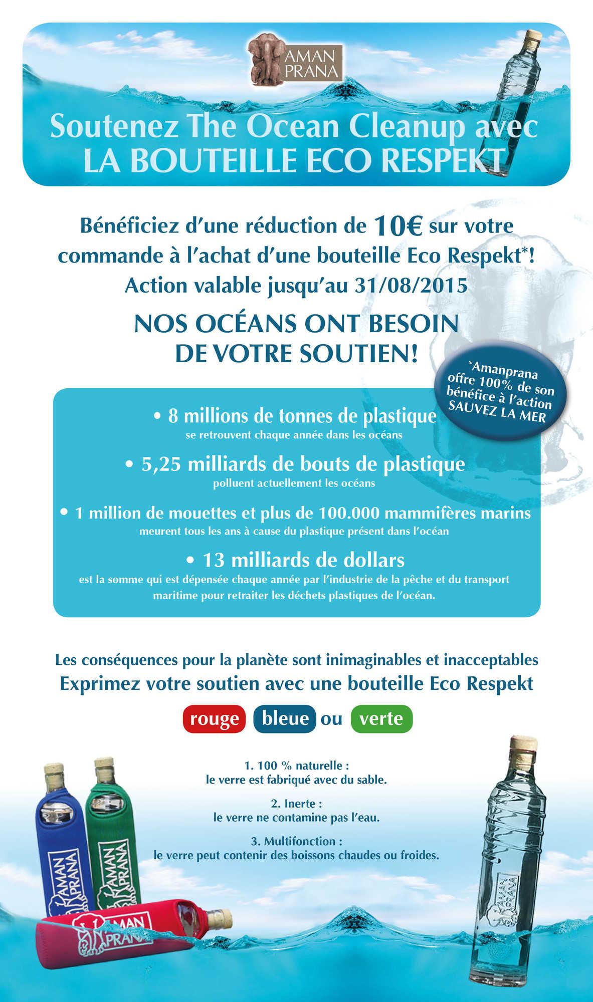 Amanprana soutient The Ocean Cleanup avec la bouteille Eco Respekt