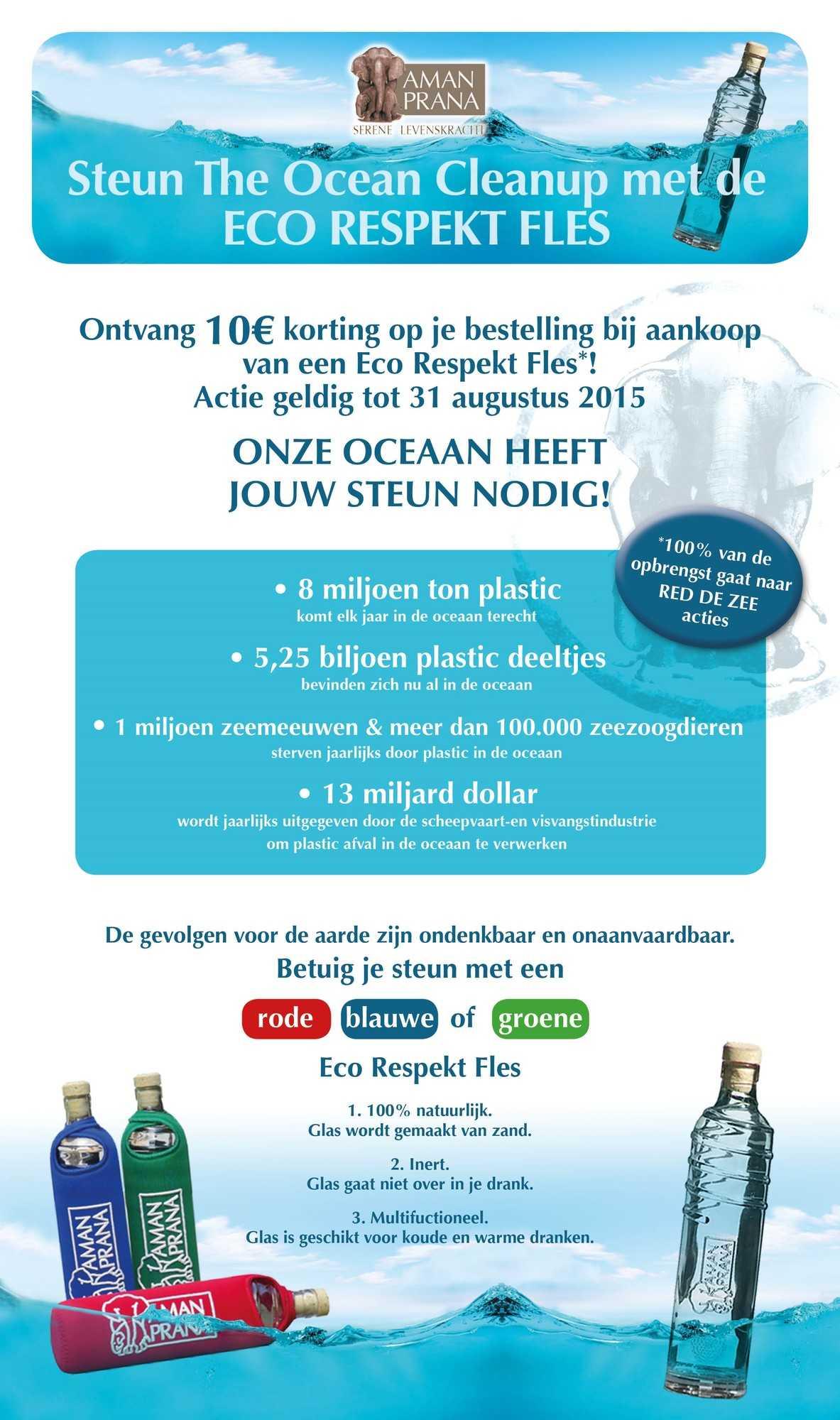 Actie Eco Respekt Fles Amanprana - Steun de Ocean Cleanup